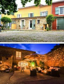 Collage aus 2 Bildern –oben gemütlicher Sitzplatz mit Blick auf die grünen Hügel, unten Abendstimmung im ehemaligen Weingut