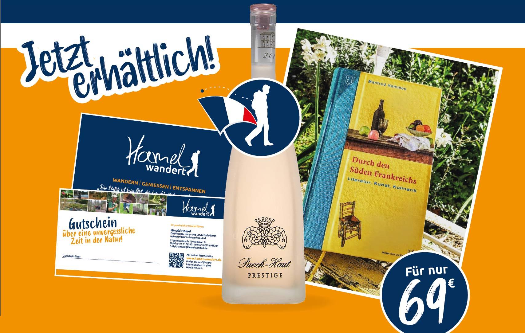 Collage aus verschiednen Elementen Überraschungspaket: Ein Gutschein, eine Flasche Wein, ein Buch von Manfred Hammes. Preis 69 Euro